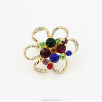 Flower Shape Multi Colorful Crystal Ring Fashion Gold Ring