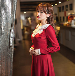 New fashion guangzhou clothing online shopping high waist doll collar women dress simple red dress with long sleeves 7015