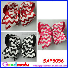 5 inch Ribbon Pink Red Black Chevron Hair bows for halloween and Chiristmas