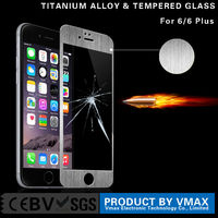 Wholesale Full Mobile Phone Cover 0.3mm 9H Titanium Alloy Color Tempered glass screen protector for iPhone 6 Plus 5.5''