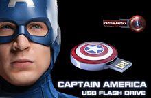 Full Capacity Avengers Captain America Shield Metal Pass H2testw 8GB 16GB 32GB 64GB USB 2.0 Flash Drive Memory Stick Pen Drive
