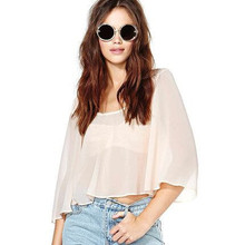 2015 Grils dresses soft sexy backless horn sleeve short loose midriff round collar perspective snow spins unlined upper garment