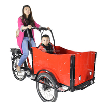CE Danish bakfiets front loading 3 wheel cargo electric bicycle rickshaw with roof