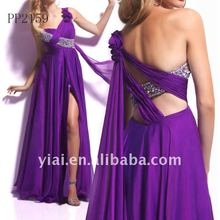 P159 Wholesale beaded one shoulder A-line Chiffon Designers Evening Gown 2012