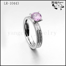 Fashion design women's classical stainless steel pink stone zircon silver jewelry ring with Matte on surface