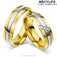 MECY LIFE stainless steel rings with mirco inlaying zircon&6mm width new design couple gold ring blanks