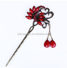 Chinese women's peacock bird flower lucky totem red rhinestone crystal bead antique brass hair pin stick accessory