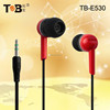 Hot sale 3.5mm stereo plug stylish plastic noise cancelling earphones / in-ear headphones / earbuds with various color TB-E530