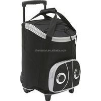 Beach trolley cooler bag/rolling speaker cooler