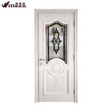 High grade modern ash wood door design with copper glazing for america market