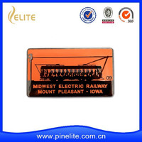 custom metal badge with electric railway logo, cheap metal badges