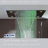 Luxury multifunction color change remote control led shower head rainfall waterfall shower head