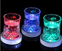 Protable Character Colorful Changing LED Light Drink Glass Bottle Cup Coaster Mat Bar Party