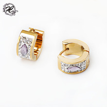 Fashion gold plated stainless steel rhinestone crystal stud earrings designs for girls