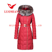 2015 New Design Customized Outdoor Woman Down Jacket With Belt,Down Clothing