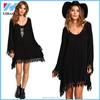 Yihao 2015 Latest Designs Newest Autumn Novelty Clothing Women Fashion Black Long Sleeve Lace Loose Dress