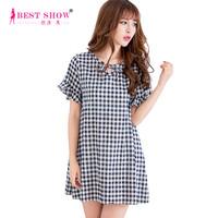 Korean Style Women Linen Maternity Clothes 2015 Summer New Arrival Ruffle Sleeve Bow Casual Women Black White Plaid Dress 2373