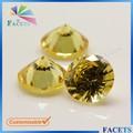 Facetas gemas 8 mm diamante del corte redondo de lujo CZ diamante amarillo