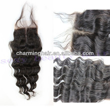 New star peruvian loose wave middle part lace closures 4X4 bleached knots natural color 10-20inch DHL/UPS free shipping