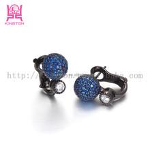 black titanium huggie earrings with zircons