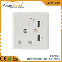 2015 New Type D & M South Africa / India Twins 2 x USB ports Wall Switch Socket 250V 16A