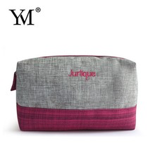2015 Luxury fashion wholesale Linen plain zip lock cosmetic bags for gift