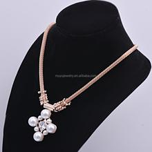 Wholesale latest design multilayer pearl boulders pendant necklace