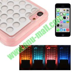 LED Light Back Cover Case for iPhone 5C(white+pink)