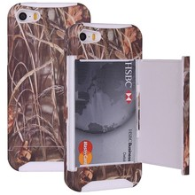 Straw Grass Real Tree Camo Credit Card Wallet Case Cover for iPhone White