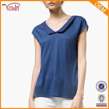 Bulk Hot Sale High Quality Fashion Chiffon Polyester Plain Blue V-Neck T Shirt