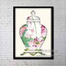 vivifying lotus flower design on vase oil painting