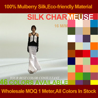 Silk Charmeuse Satin Fabric 16momme 114cm Width 100% Pure Silk For Wedding Dress Factory Direct Wholesale
