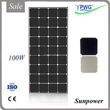 Cheap Price per watt 100w Sunpower Solar Panel PV Monocrystalline Silicon with CE ISO