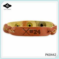 PK0442 Hot Sell Printing Logo diy braided Genuine Teenage leather bracelet Baseball leather bracelet