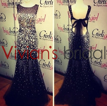 Mermaid Backless Crystal Beaded Tulle Real Sample Evening Dress GS122