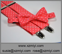 Boy's Bow Tie and Suspender Set Coral Polka Dots Children's Bowtie and Suspenders Wedding Bow Tie