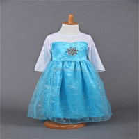Within three days of delivery, top grade 2016 Elsa Anna costume princess dress sequined costume girls dresses