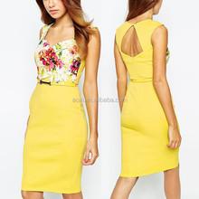 Ropa mujer moda 2015 del recorte de nuevo para mujer vestidos cóctel de encaje con estilo