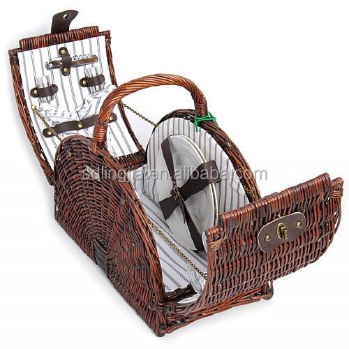 Handmade Hamper Basket : Beach handmade willow picnic hamper white wicker basket