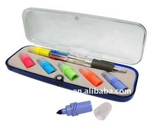 Mini Cheap Plastic School Set Kids Ball Pen with highlighters for promotion
