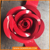 Customized Decorative Red Metal Rose Flower