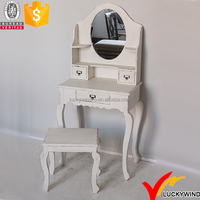 French Country Wood White Mirrored Antique Style Bedroom Set Furniture
