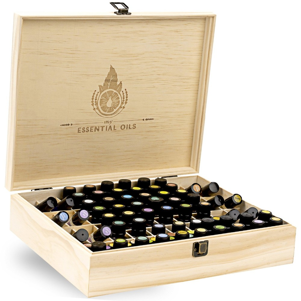 Essential Oil Wooden Box Organizer Large Wood Storage