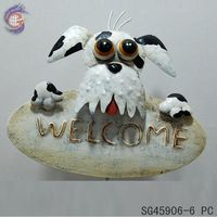 ourdoor hanging decor of dog welcome sign key keeper