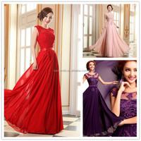 Cheap bridesmaid dress Floor Length A-line beading aqqiques lace long bridesmaid dresses for party women chiffon dress
