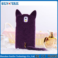 Fur Hair Phone Case Plush Mink Cat Soft Cover Cartoon Case for Samsung Galaxy Note 2 N7100 N7102 N7108 N719