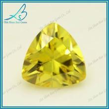 HOT sell trillion cut golden yellow syntetic gemstones