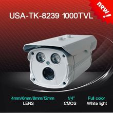 8239 CMOS 1000TVL 4/6/8/12mm lens two wafer H.LED IR 40 meters white light car license plate capture waterproof IP66 cctv camera