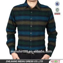 men's wool cotton brushed stripes wash and wear treatment casual shirt