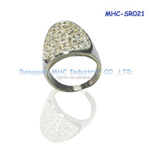 Factory price Stainless steel Jewelry, index ringer rings, micro paving stones ring for finger